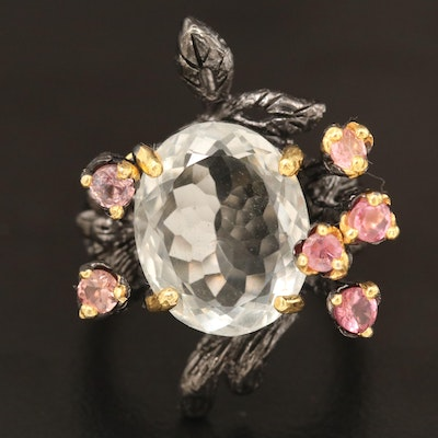 Sterling Silver Citrine and Tourmaline Foliate Motif Ring