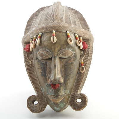 West African Marka Carved Wood and Metal Mask