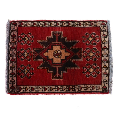 1'7 x 2'3 Hand-Knotted Turkish Village Rug, 1980s