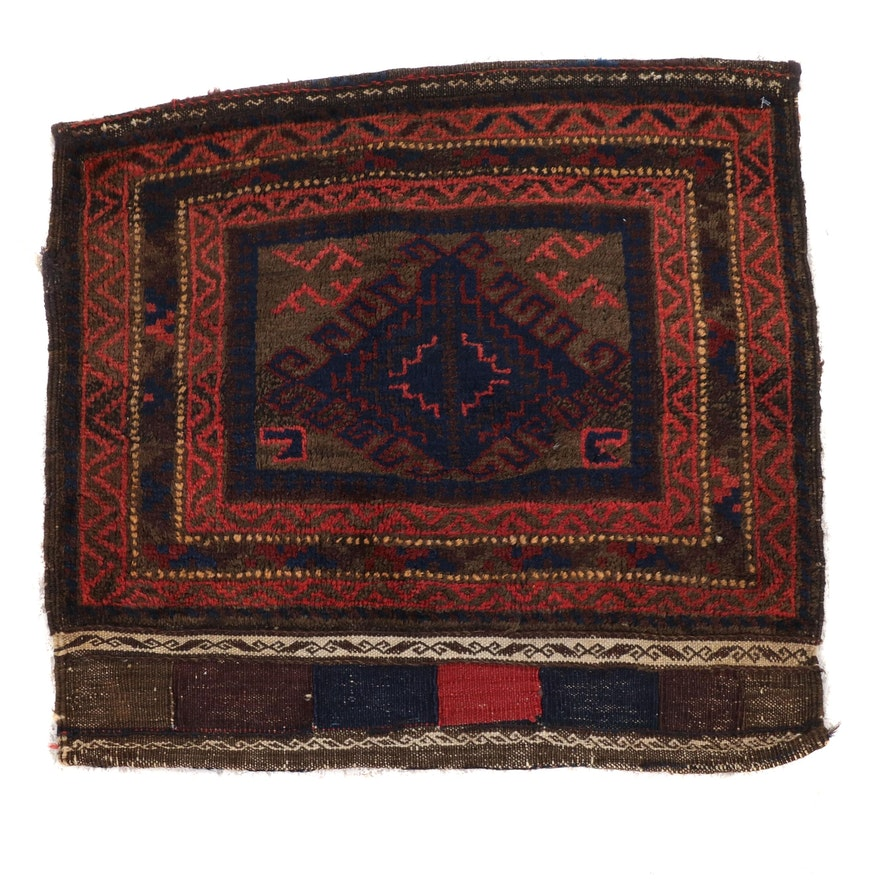 1'10 x 2'0 Hand-Knotted Persian Baluch Rug, 1920s