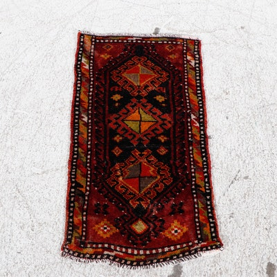 1'6 x 2'11 Hand-Knotted Turkish Village Rug, 1950s