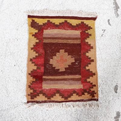 1'7 x 2'4 Handwoven Persian Kurdish Kilim Rug, 1950s