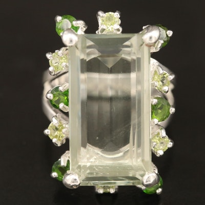 Sterling Citrine, Diopside and Peridot Split Shank Ring