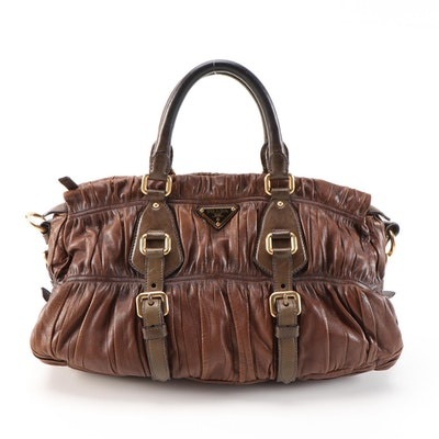 Prada Gaufre Satchel in Antiqued Effect Walnut Nappa Leather