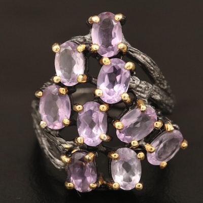 Sterling Amethyst Tree Branch Motif Ring