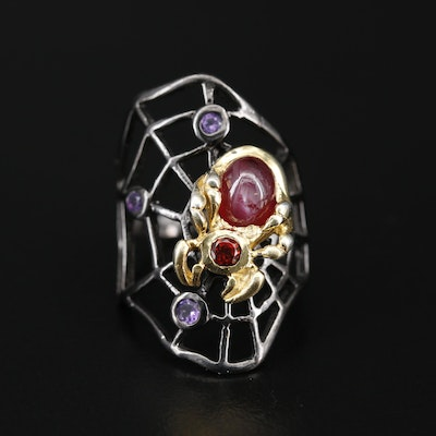 Sterling Silver Star Corundum, Garnet and Amethyst Spider and Web Ring