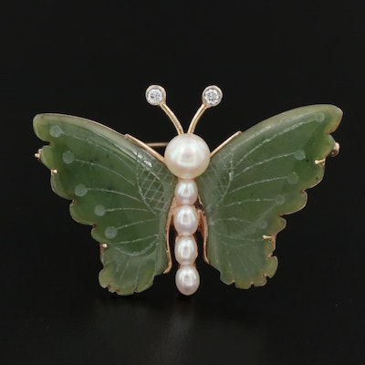 14K Nephrite, Cultured Pearl, and Diamond Butterfly Pin