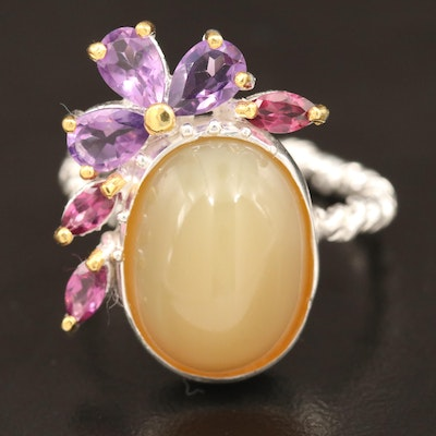 Sterling Common Opal and Amethyst Ring