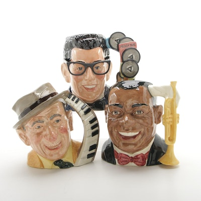 """Royal Doulton Celebrity Collection Character Jugs Including """"Louis Armstrong"""""""