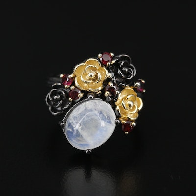 Sterling Silver Moonstone and Garnet Floral Motif Ring