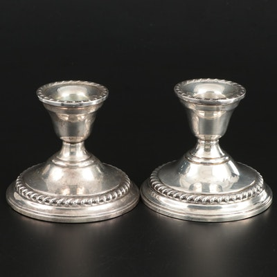 Pair of Weighted Sterling Silver Candle Holders, Mid to Late 20th Century