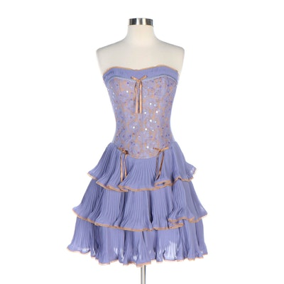 Betsey Johnson Evening Bustier Dress in Lilac with Lace-Trimmed Tiered Skirt