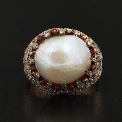 Vintage 18K Pearl, Diamond and Enamel Ring