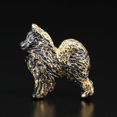 Sterling Silver Sapphire Dog Brooch