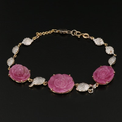 10K Carved Ruby and Diamond Floral Bracelet