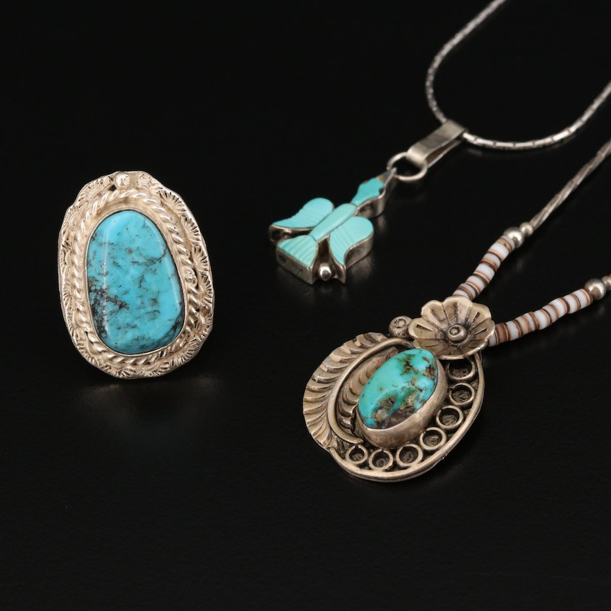 Sterling Silver Turquoise Pendant Necklaces and Ring With Floral and Bird Motifs