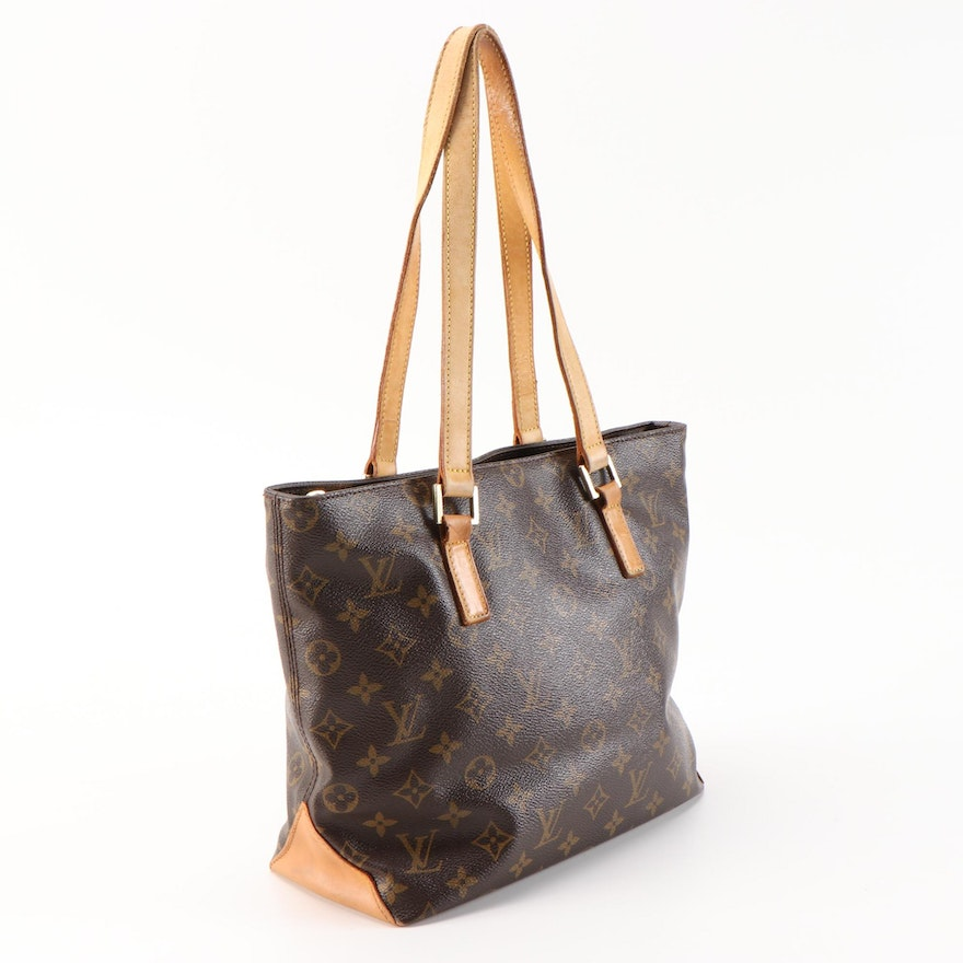 Refurbished Louis Vuitton Cabas Mezzo Tote in Monogram Canvas and Leather
