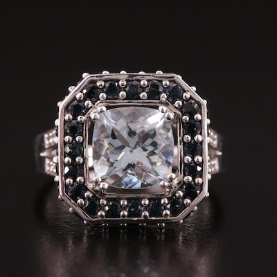 Sterling Silver Aquamarine Ring With Diamond and Sapphire Accents