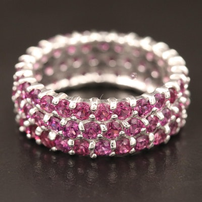 Sterling Silver Garnet Eternity Band