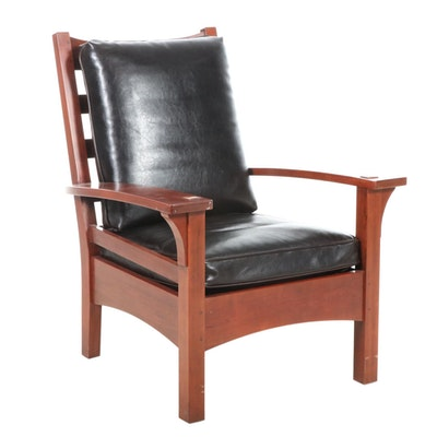 Stickley Arts & Crafts Style Cherry Armchair with Leather Upholstery