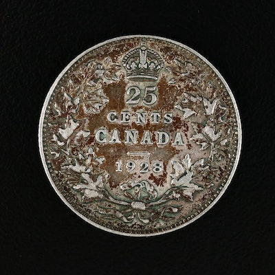 1928 Canada Silver 25 Cents