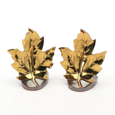 Philadelphia Mfg. Co. Cast Brass Maple Leaf Bookends, Mid-20th Century