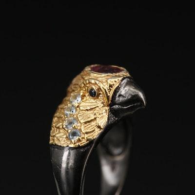 Sterling Silver Rhodolite Garnet, Topaz and Sapphire Bird Motif Ring