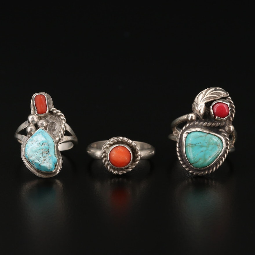 Assorted Western Style Sterling Silver Turquoise and Coral Rings
