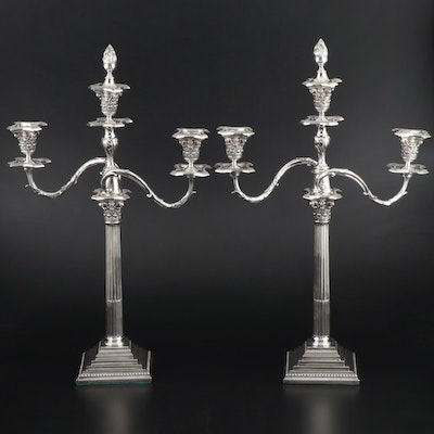 William Hutton & Sons Large Scale Victorian Silver Plate Convertible Candelabras