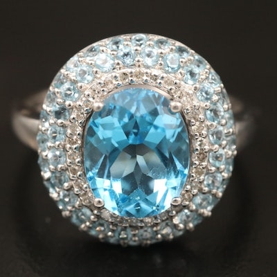 Sterling Silver Topaz and Diamond Ring