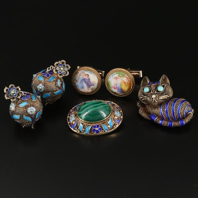 Sterling Silver Gemstone Selection Featuring Cat Brooch and Ceramic Cufflinks