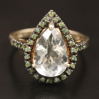 Sterling Quartz and Diamond Ring
