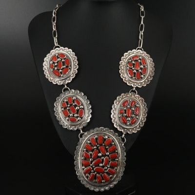 Tommy Moore Navajo Diné Sterling Silver Branch Coral Link Necklace