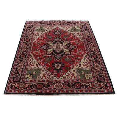 9'0 x 12'0 Hand-Knotted Indo-Persian Heriz Serapi Room Sized Rug, 2010s