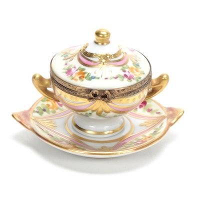La Gloriette Painted Porcelain Double Handle Soup Tureen and Platter Box
