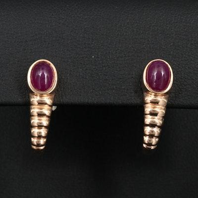 14K Gold Filled Corundum J-Hoop Earrings