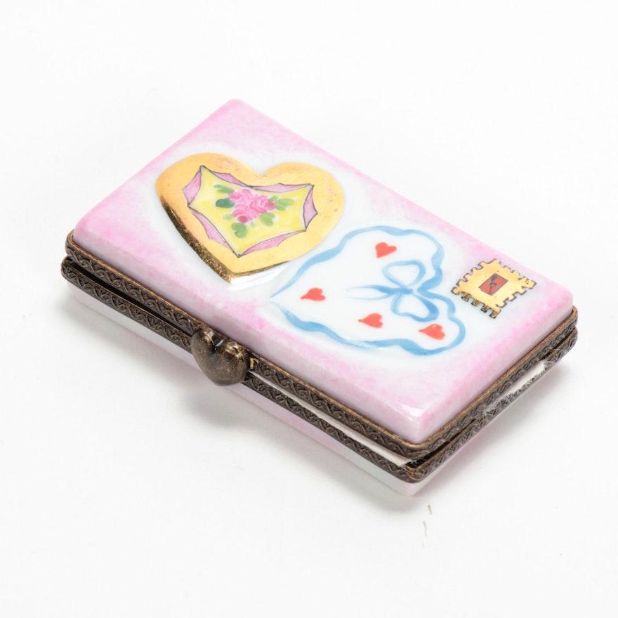 "Hand-Painted Porcelain ""Love Letter"" Limoges Box"