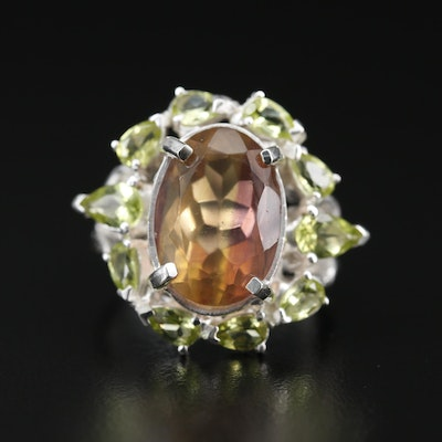 Sterling Silver Fluorite and Peridot Ring
