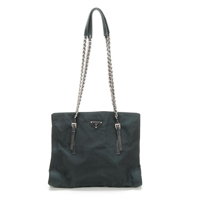 Prada Chain Strap Shoulder Bag in Black Tessuto Nylon