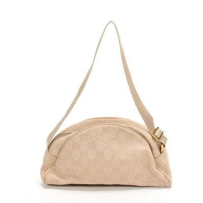 Gucci GG Canvas and Nylon Shoulder Bag in Beige