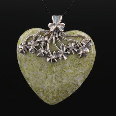 Sterling Jasper Heart Pendant