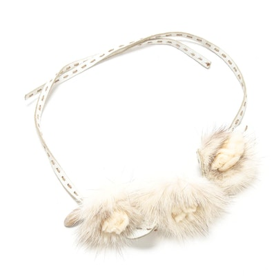 Fendi Selleria Mink Fur Rosette White Leather Headband with Running Stitch