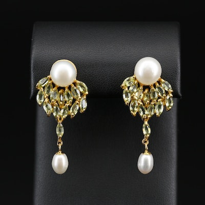 Sterling Silver, Peridot and Pearl Drop Earrings