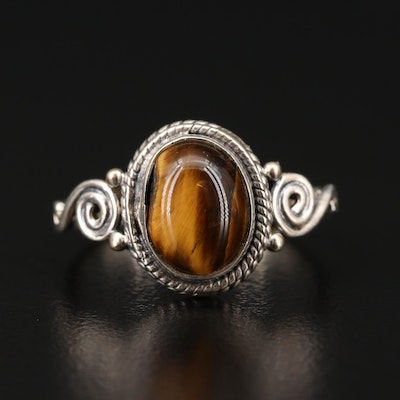 Sterling Silver Tiger's Eye Solitaire Ring