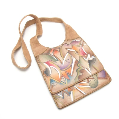Indian Hand-Painted Leather Shoulder Bag