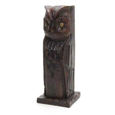 Hand-Carved Owl Liquor Bottle Box, Vintage