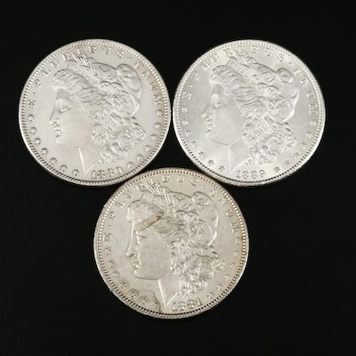 1880-O, 1881-O, and 1889 High Grade Morgan Silver Dollars