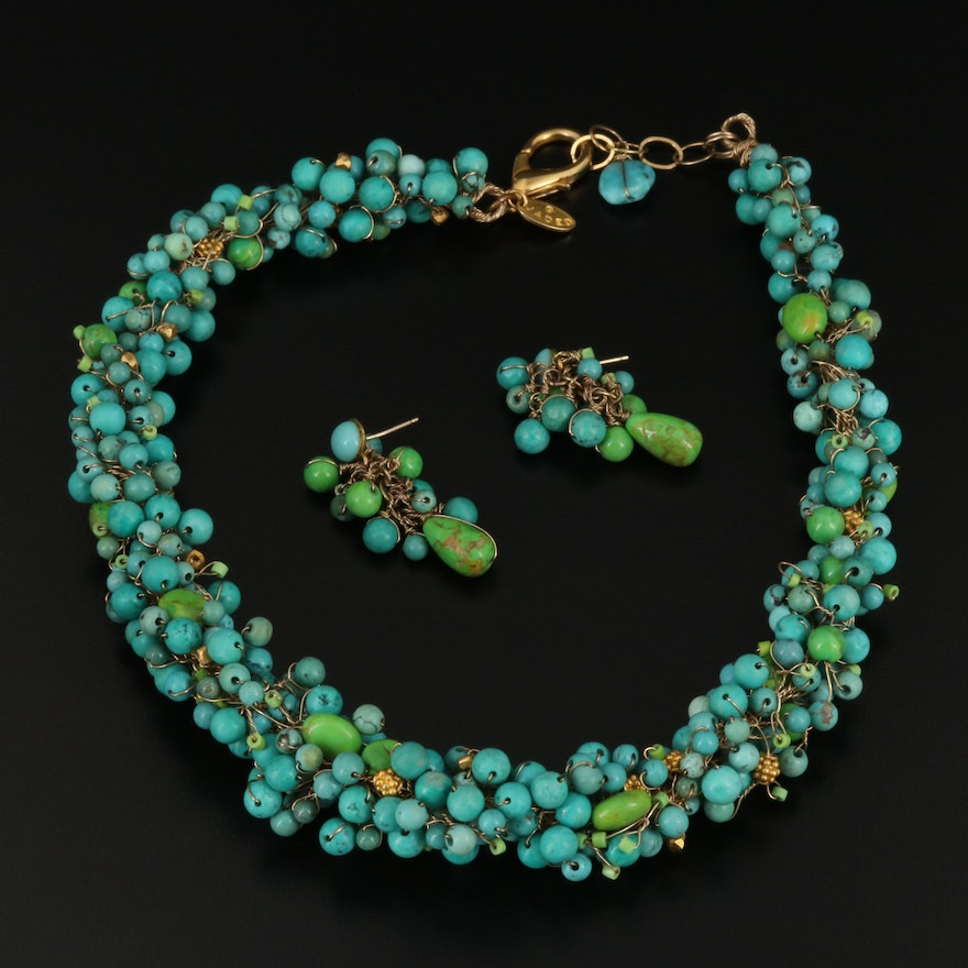 Turquoise Beaded Necklace and Earring Set