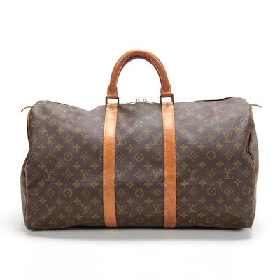 Louis Vuitton Malletier Keepall 50 Duffel in Monogram Canvas and Leather