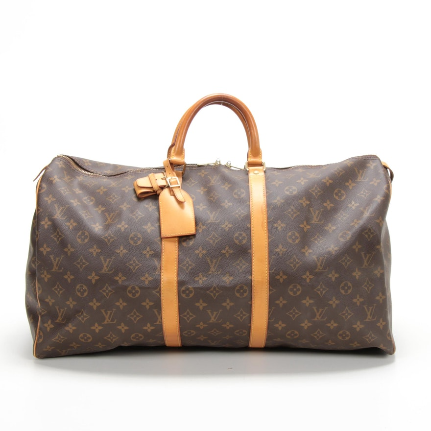 Louis Vuitton Keepall 55 Duffel in Monogram Canvas and Vachetta Leather